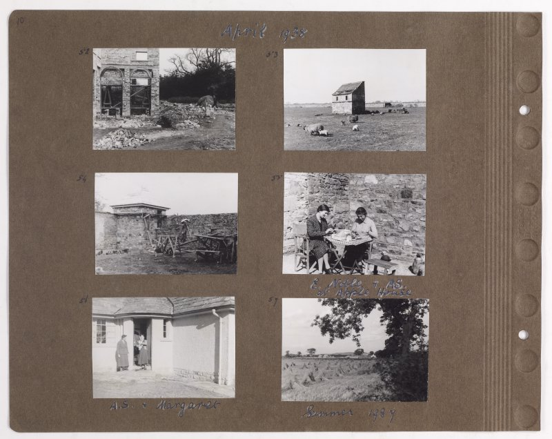 Six photographs showing the construction of Addistoun House and dovecot. Page titled: 'April 1938' PHOTOGRAPH ALBUM NO.145: ADDISTOUN