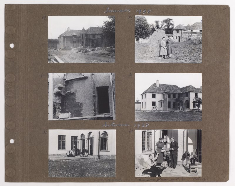Six album photographs showing the construction of Addistoun House and family life Page titled: 'Summer 1938' PHOTOGRAPH ALBUM NO.145: ADDISTOUN