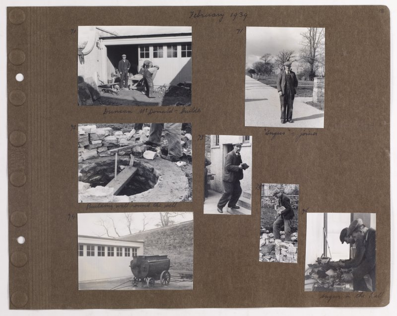 Seven album photographs showing building works around Addistoun House. Page titled: 'February 1939'. PHOTOGRAPH ALBUM NO.145: ADDISTOUN