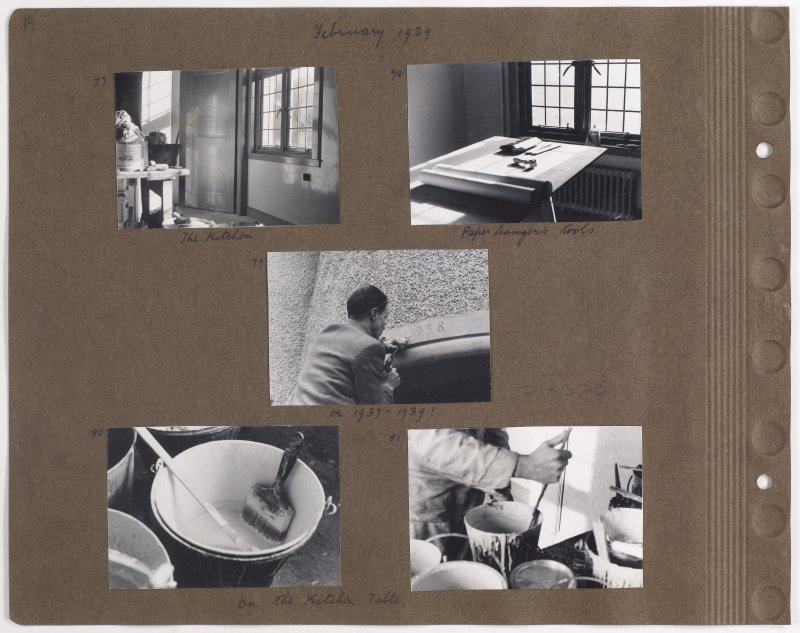 Five album photographs showing decorating work at Addistoun House. Page titled: 'February 1939'. PHOTOGRAPH ALBUM NO.145: ADDISTOUN