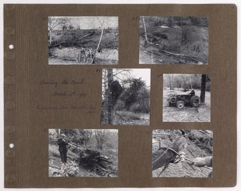 Six album photographs showing forest clearing at Addistoun House. Page titled: 'Clearing the Bank March 4th 1939. Engine and men from Wariston Saw Mills'. PHOTOGRAPH ALBUM NO.145: ADDISTOUN