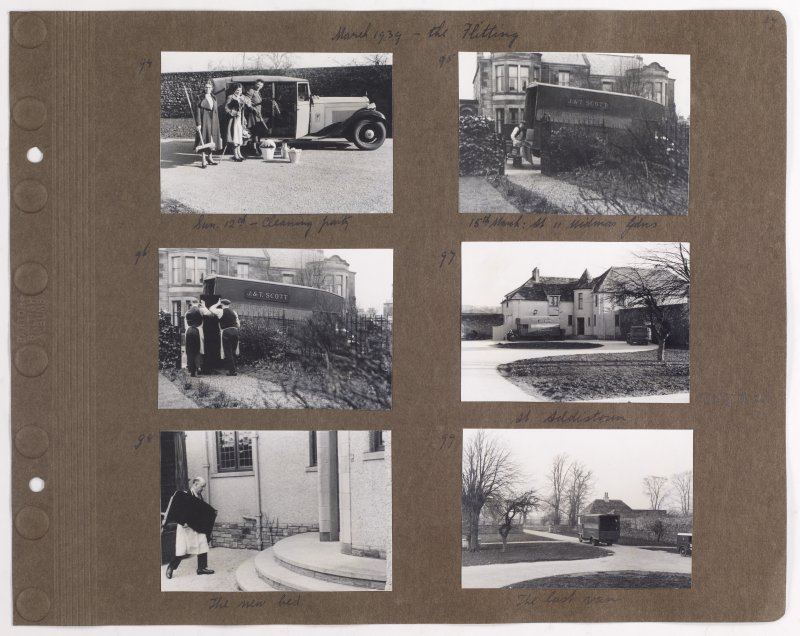 Six album photographs showing removal van at 11 Midmar Gardens, the 'cleaning party and Addistoun House. Page titled: 'March 1939 - the Flitting'. PHOTOGRAPH ALBUM NO.145: ADDISTOUN