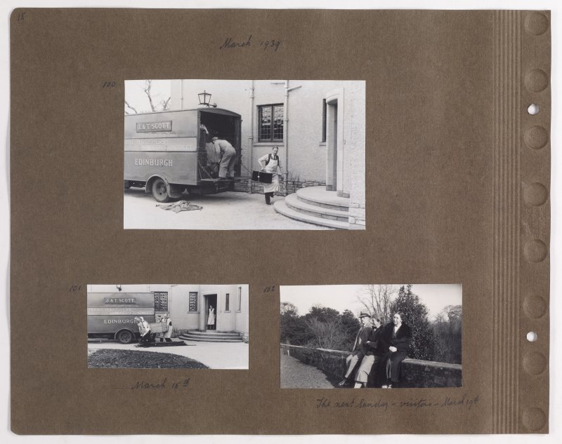 Three album photographs showing removal van at Addistoun House and three visitors. Page titled: 'March 1939'. PHOTOGRAPH ALBUM NO.145: ADDISTOUN