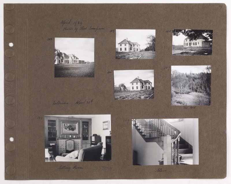 Seven album photographs showing Addistoun House and interior views of the sitting room and stair. Page titled: 'April 1939. Photos by Olive Sampson'. PHOTOGRAPH ALBUM NO.145: ADDISTOUN