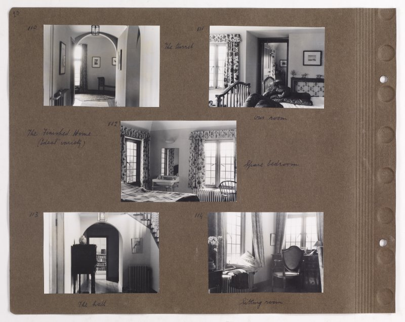 Five album photographs showing interior views of Addistoun House. Previous page titled: 'April 1939. Photos by Olive Sampson'. PHOTOGRAPH ALBUM NO.145: ADDISTOUN