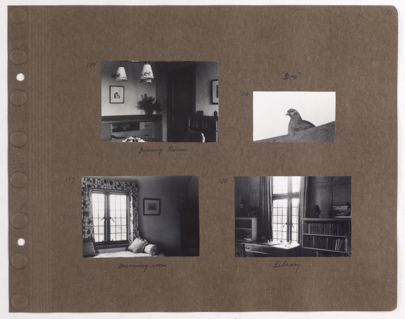 Four album photographs showing interior views of Addistoun House and a pigeon. Previous page titled: 'April 1939. Photos by Olive Sampson'. PHOTOGRAPH ALBUM NO.145: ADDISTOUN