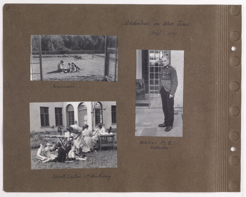 Three album photographs showing life at Addistoun House. Page titled: 'Addistoun in War Time Sept 1939' PHOTOGRAPH ALBUM NO.145: ADDISTOUN