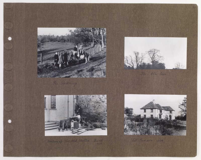 Four album photographs showing life at Addistoun House, including construction of air raid shelter. PHOTOGRAPH ALBUM NO.145: ADDISTOUN