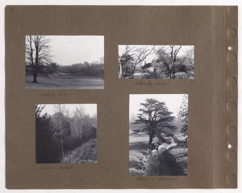 Four album photographs showing parkland, possibly at Addistoun House and Dalmahoy Chapel. PHOTOGRAPH ALBUM NO.145: ADDISTOUN