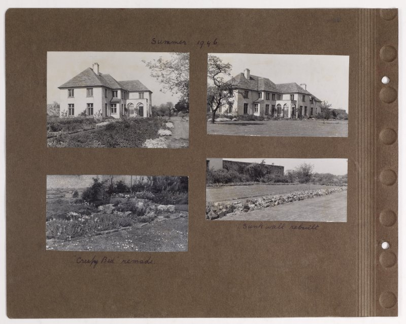 Four album photographs showing views of Addistoun House and gardens. Page titled: 'Summer 1946' PHOTOGRAPH ALBUM NO.145: ADDISTOUN
