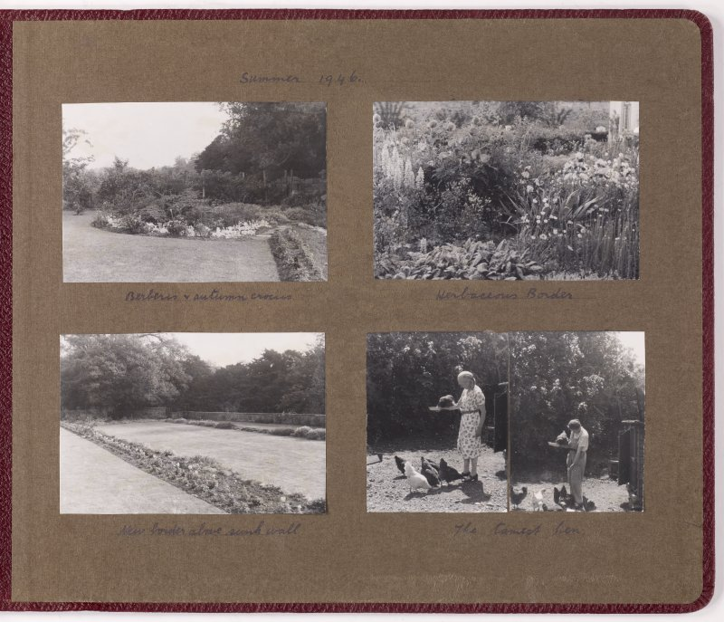 Four album photographs showing views of gardens at Addistoun House  Page titled: 'Summer 1946' PHOTOGRAPH ALBUM NO.145: ADDISTOUN