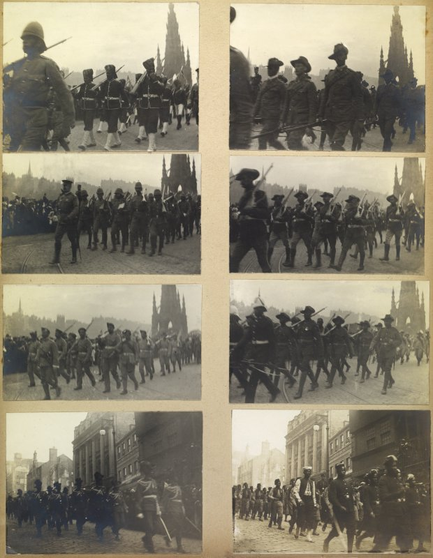 Eight album photographs showing soldiers on parade in Edinburgh