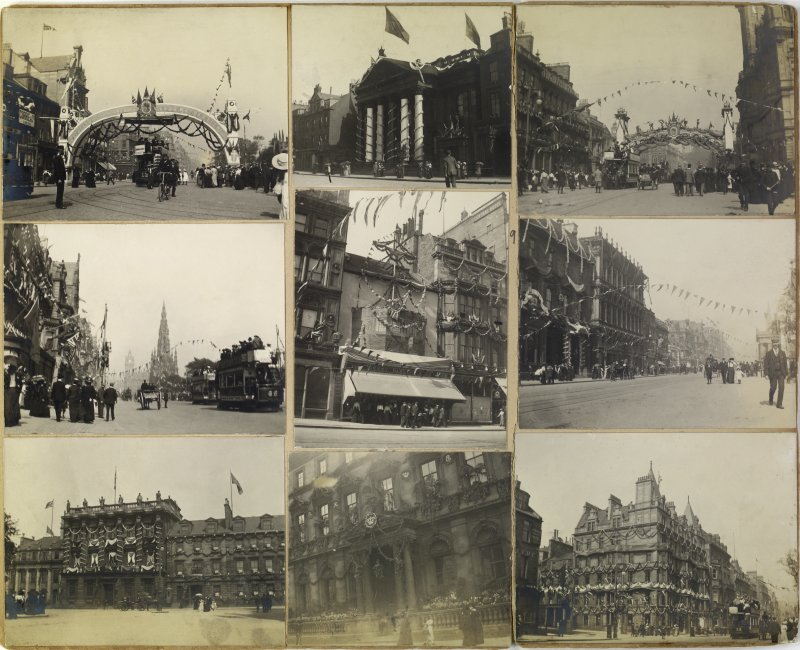 Nine album photographs showing views of Edinburgh decorated for the coronation of Edward VII.