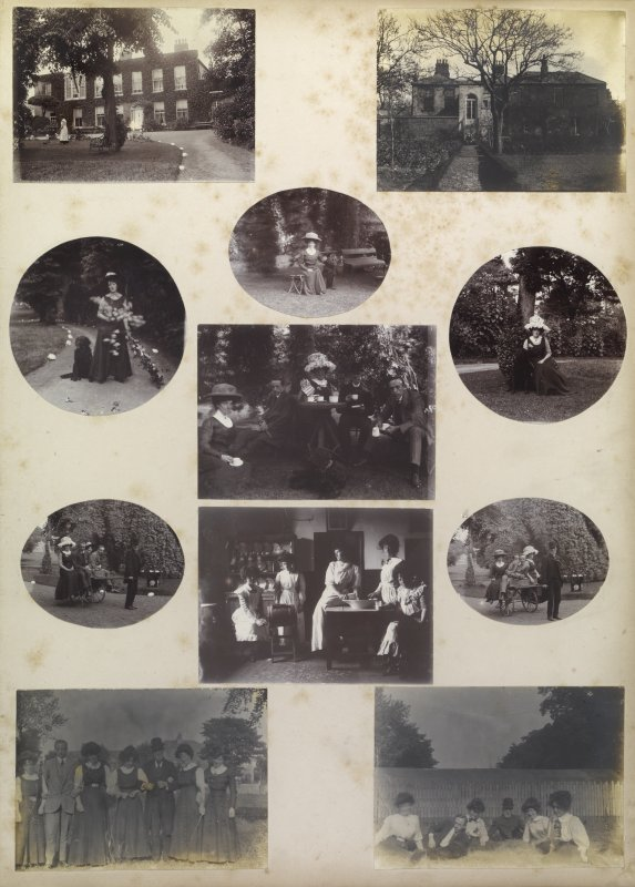 Eleven album photographs showing the Mather family