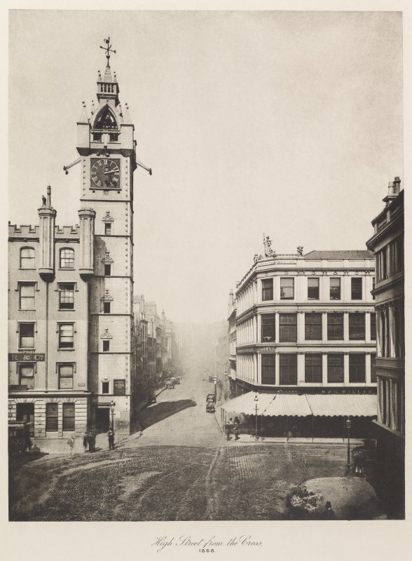 View of Glasgow High Street inscribed 'High Street from the Cross, 1868'. Copied from 'Old closes and streets [of Glasgow]: a series of photogravures 1868-1899', printed for the Corporation of Glasgow, July 1900, Plate 1.
