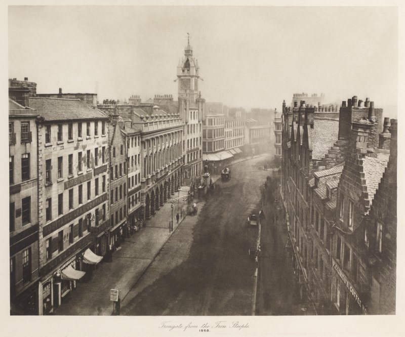 View of Trongate, Glasgow inscribed 'Trongate from the Tron Steeple, 1868'. Copied from 'Old closes and streets [of Glasgow]: a series of photogravures 1868-1899', printed for the Corporation of Glasgow, July 1900, Plate 17.