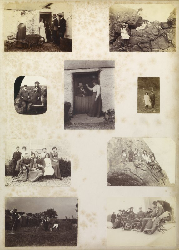 Nine album photographs showing the Mather family
