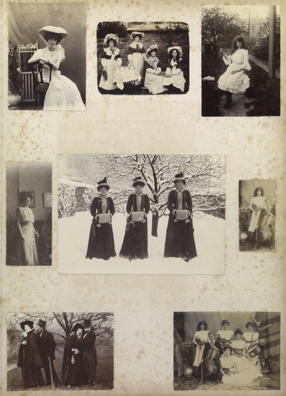Eight album photographs showing the Mather family