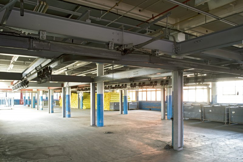 Interior. Main building, First Floor. Wing D. Second phase extension.The structural steel visible is part of the rubber footwear production line installed by Gates in the 1990s.