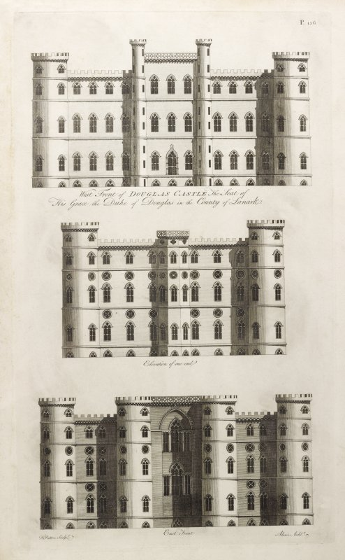 West, East and side Elevations of Douglas Castle. Taken from W Adam, Vitruvius Scoticus, 1812, Plate 136