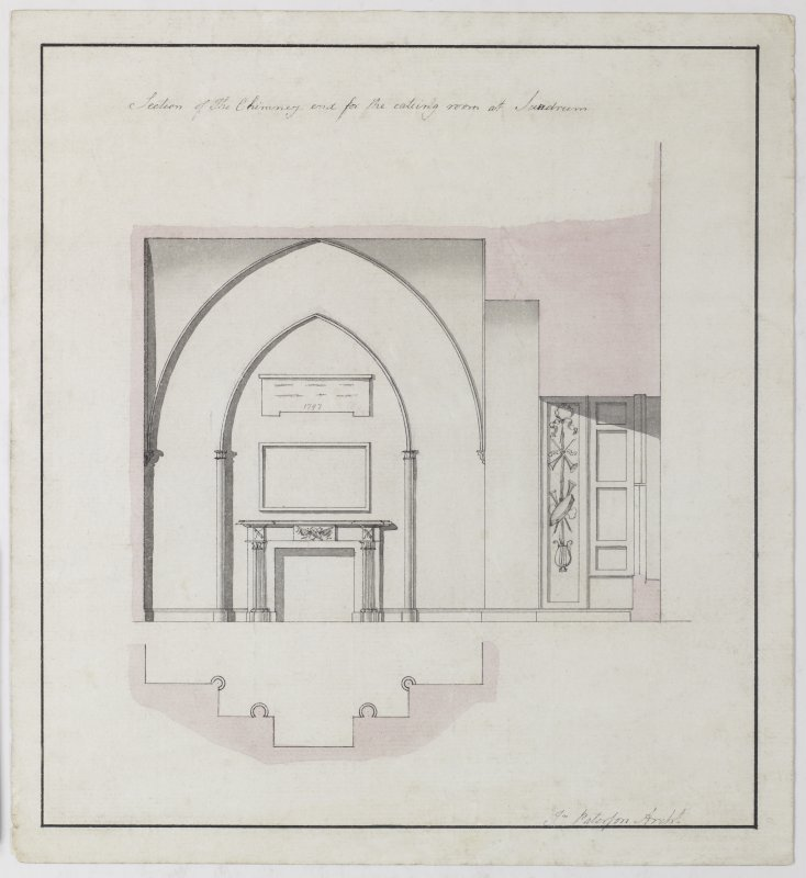 Digital copy of a design for the remodelling of the Eating Room at Sundrum Castle, Ayrshire. Insc:'Section of the chimney end for the eating room at Sundrum' s:'Jn Paterson Archt.' Annotated on panel above chimneypiece:'1797' Purchased with the assistance of the Art Fund, 2011.