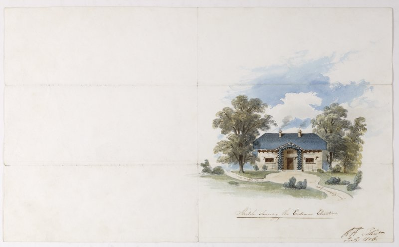 Digital copy of a design for a cottage at Newholme for Charles Cunningham. Insc:'Sketch showing Entrance Elevation' s:'RR Edin' Purchased with the assistance of the Art Fund, 2011.