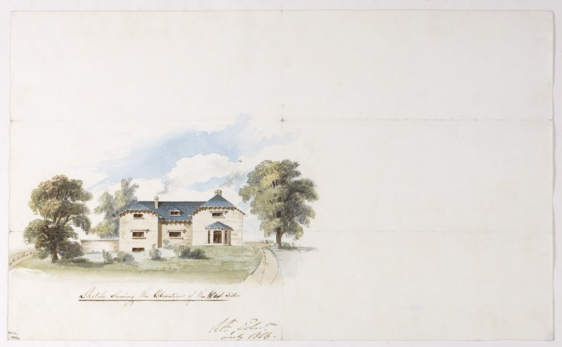 Digital copy of a design for a cottage at Newholme for Charles Cunningham. Insc:'Sketch showing the Elevation of the West Side' s:'RR Edin' Purchased with the assistance of the Art Fund, 2011.