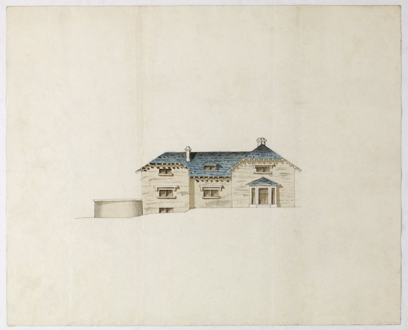 Digital copy of a design for a cottage at Newholme for Charles Cunningham. Elevation of the West Side. Copy of DC54509 without landscape setting. Purchased with the assistance of the Art Fund, 2011.