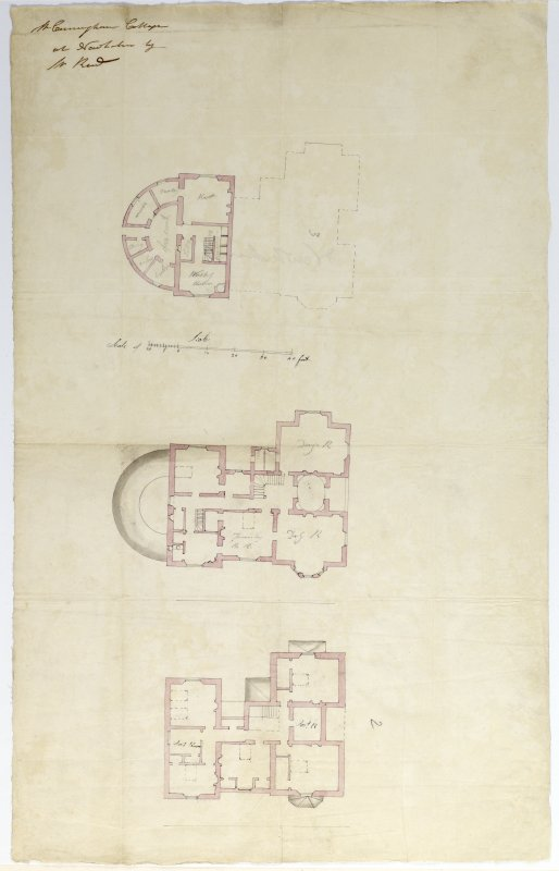 Digital copy of a design for a cottage at Newholme for Charles Cunningham. Plans of each of three floors. Insc:'Mr Cunningham Cottage at Newholm by Mr Reid' Attributed to Robert Reid. Purchased with the assistance of the Art Fund, 2011.