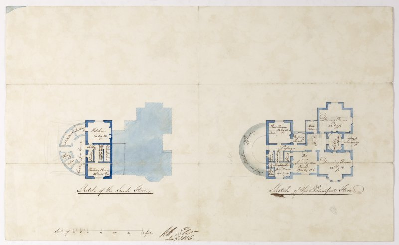 Digital copy of a design for a cottage at Newholme for Charles Cunningham. Insc:'Sketch of the Sunk Floor. Sketch of the Principal Floor.' s:'RR Edin' Purchased with the assistance of the Art Fund, 2011.