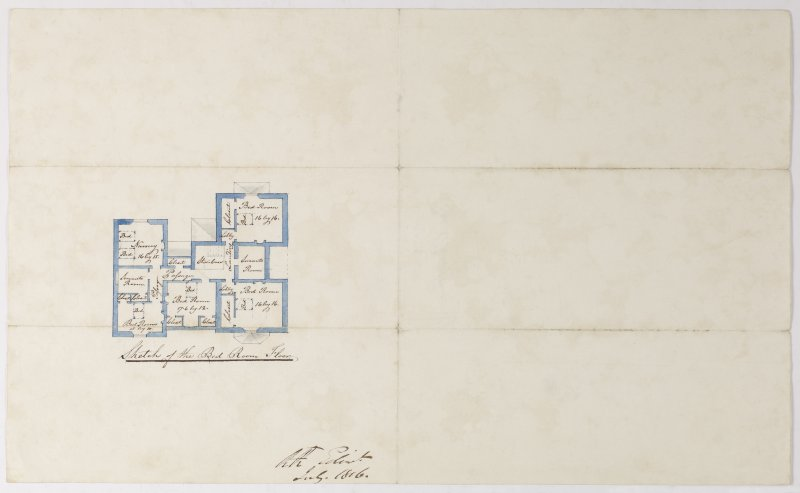 Digital copy of a design for a cottage at Newholme for Charles Cunningham. Insc:'Sketch of the Bedroom Floor.' s:'RR Edin' Purchased with the assistance of the Art Fund, 2011.
