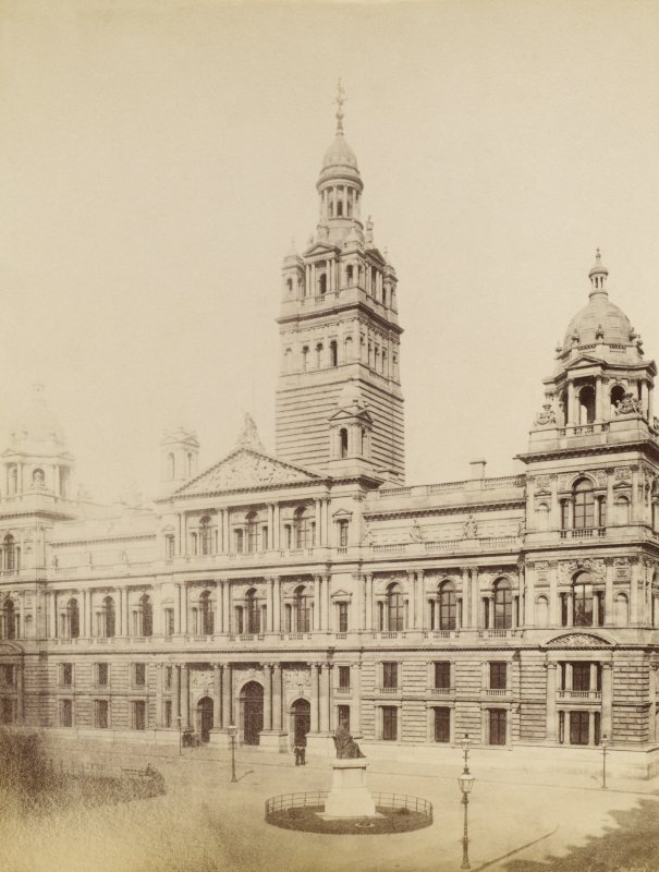 View of Glasgow City Chambers. Titled: 'Glasgow Municipal Buidlings - 1890'.
