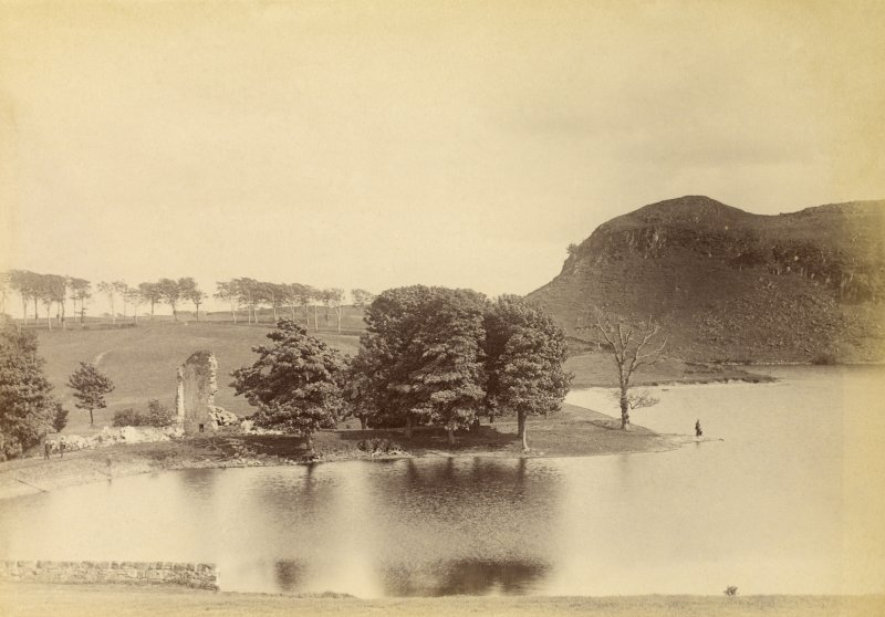 View of ruin and dam. Titled: 'Glanderston Dam + Ruin of Glanderston House - 31st May 1890'.