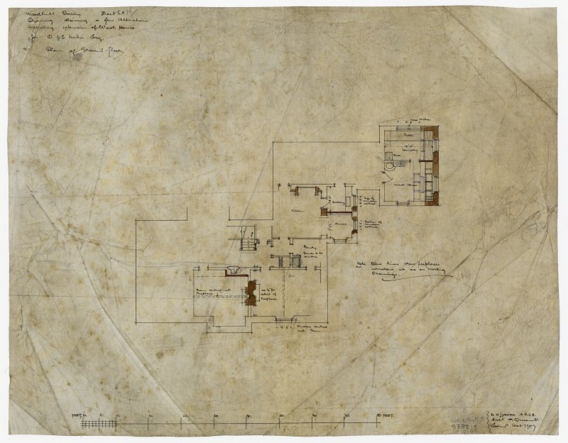 Floor plan of Second Floor showing alterations.  Annotated: 'Woodhill Barry Sheet 15. Drawing showing few alterations including extension of wash House For D J S Miln Esq'