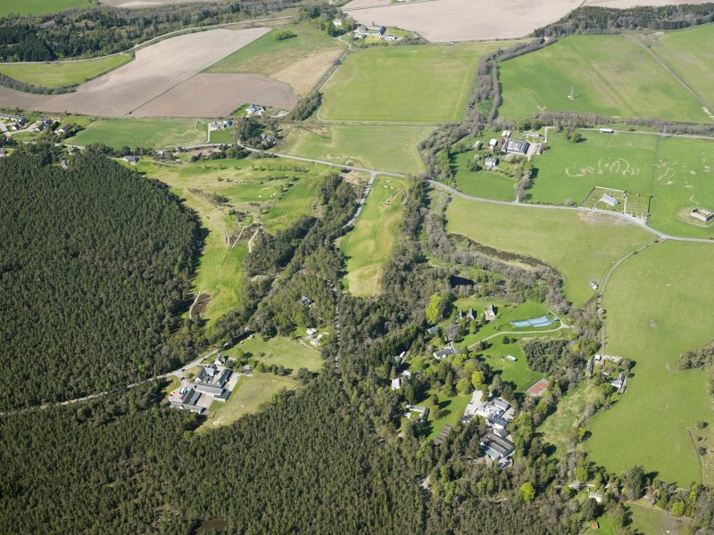 General oblique aerial view of Abernethy Golf Course and outdoor activity centre, taken from the E.