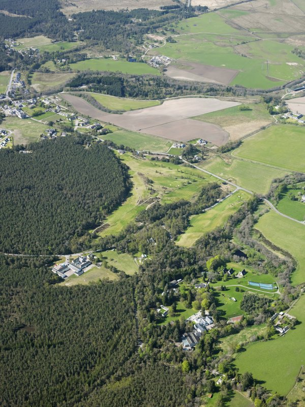 General oblique aerial view of Abernethy Golf Course and outdoor activity centre, taken from the ENE.