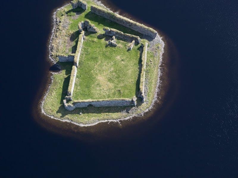 Oblique aerial view of Lochindorb Castle, taken from the WNW.