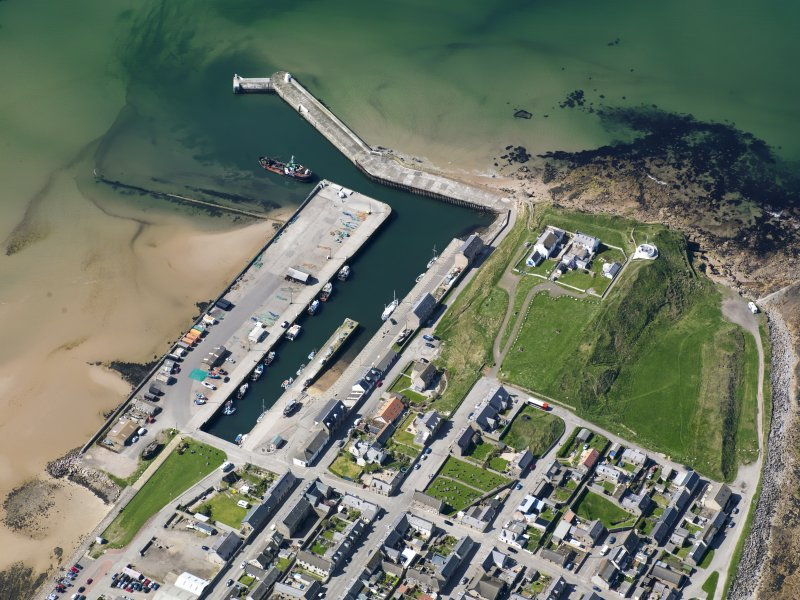 Oblique aerial view of Burghead Harbour, taken from the E.