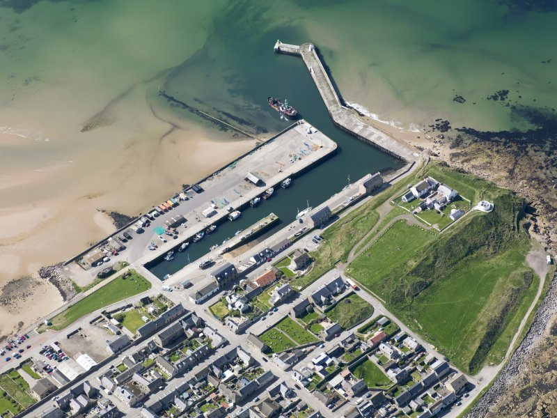 Oblique aerial view of Burghead Harbour, taken from the ENE.