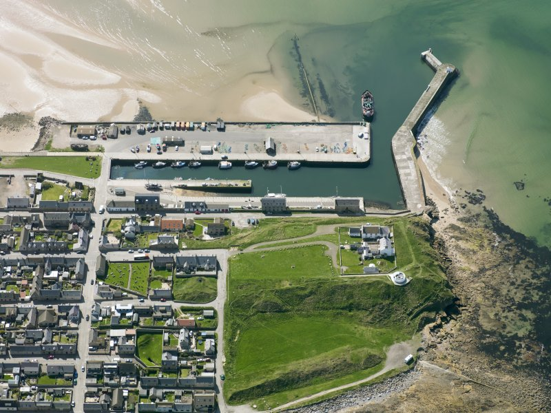 Oblique aerial view of Burghead Harbour, taken from the NE.