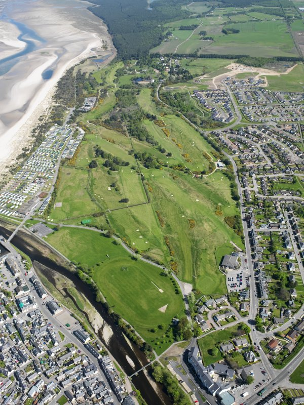 Oblique aerial view of Nairn Dunbar Golf Course, taken from the WSW.