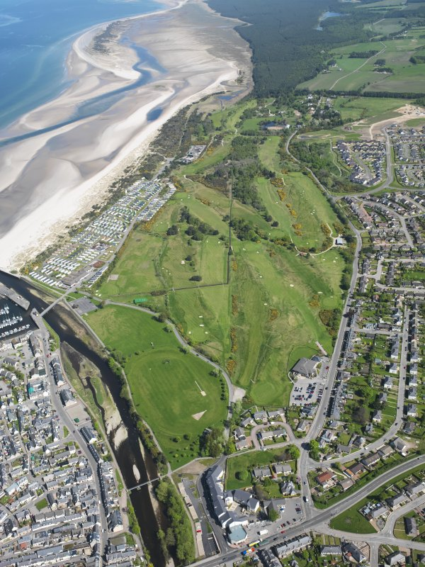 Oblique aerial view of Nairn Dunbar Golf Course, taken from the SW.