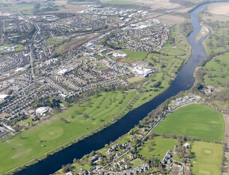 General oblique aerial view of North Inch Golf Course with the City of Perth adjacent, taken from the E.