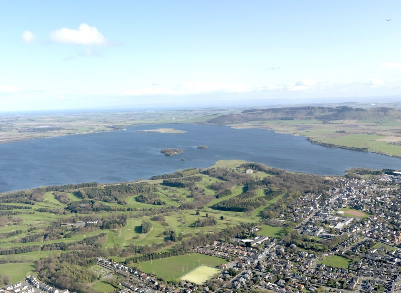 General oblique aerial view of The Muirs Golf Courses with Loch Leven beyond, taken from the S.