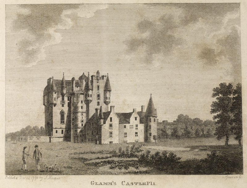 Copy of engraving of Glamis Castle, titled 'Glamms's Castle Pl.1. Published by J. Hooper Dec.14, 1790, Sparrow Sc.'