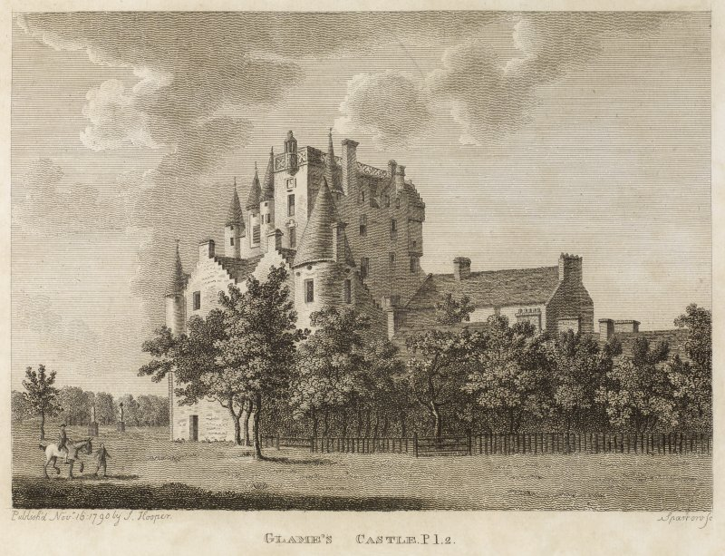 Copy of engraving of Glamis Castle titled 'Glame's Castle Pl.2. published by J. Hooper, Nov.16, 1790, Sparrow Sc.'