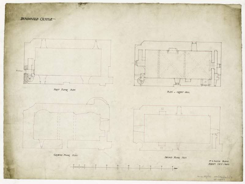 Floor plans including ground floor, first floor, second floor and plan of Great Hall for Dundonald Castle
