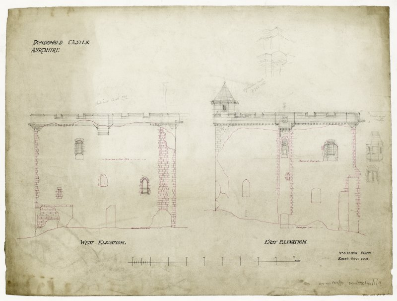 East and West Elevations for Dundonald Castle