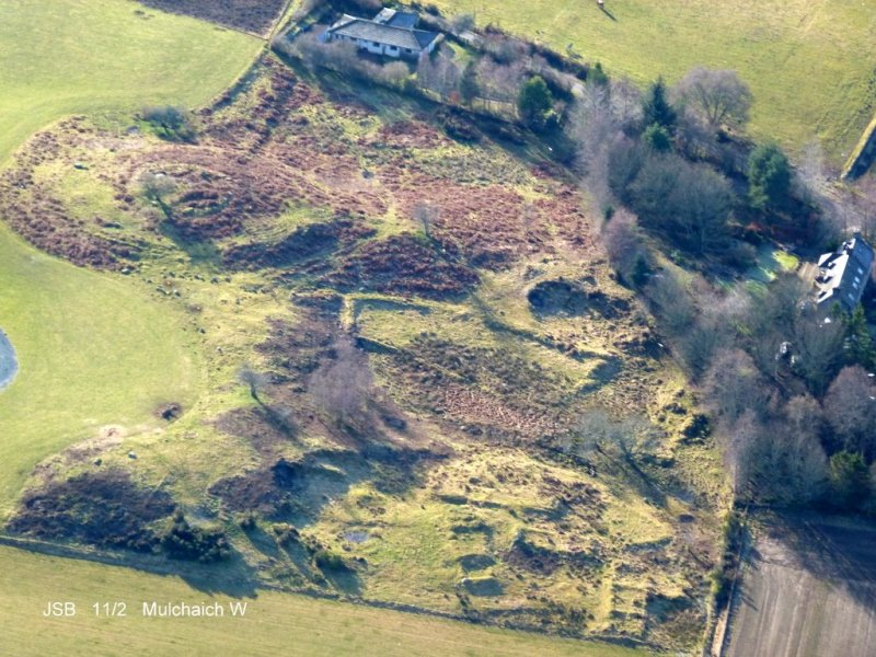 Aerial photo of Mulchaich cairn and west settlement from the north
