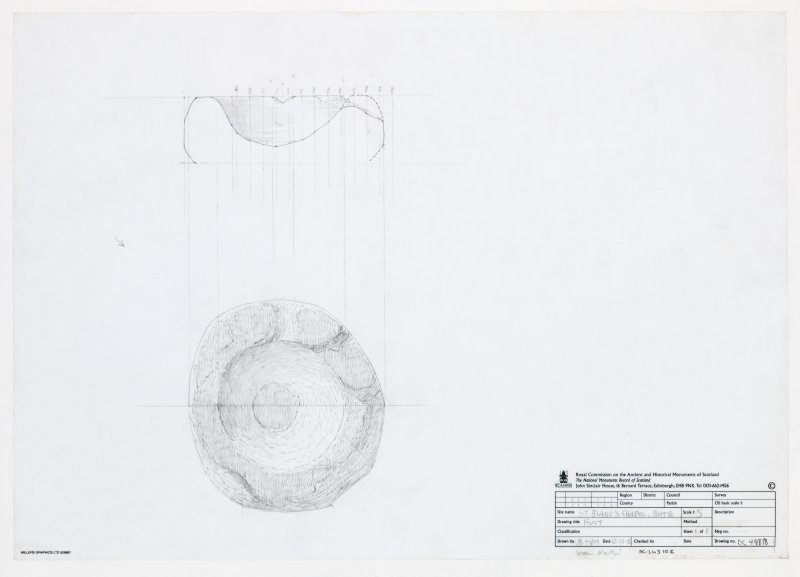 Pencil drawing of font - plan view and section